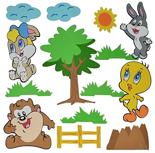 Preisvergleich Produktbild 14 tlg. Set: 3-D Wandtattoo / Wandbild / Türschild - Baby Looney Tunes aus Moosgummi - Tweety Bugs Bunny Wandsticker Wanddeko für Kinderzimmer Kind Kinder Deko Bilder Mädchen Jungen