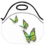 Snoogg Butterfly Isolated On White Travel Outdoor Carry Lunch Bag Picnic Tote Box Container Zip Out Removable Carry Lunchbox Handle Tote Lunch Bag Food Bag For School Work Office