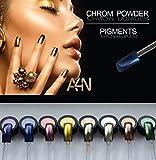 Chrom Powder Blau, Chrom Effekt Nägel, Spiegel Pulver