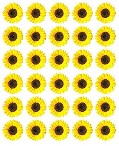 Cupcake-Topper, essbares Oblatenpapier, Sonnenblumen, Gelb, 30 Stück