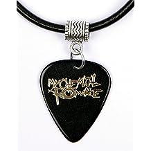 Collar con púa de guitarra, modelo My Chemical Romance, logo de oro, collar, negro