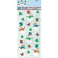 Unique Party Supplies - Sacchetti di cellophan natalizi, motivo: Pupazzo di neve, 20 pz., 30 x 13 cm