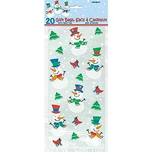 Unique Party - Bolsa de cumpleaños con diseño Monigoto de nieve, 20 piezas (13016)