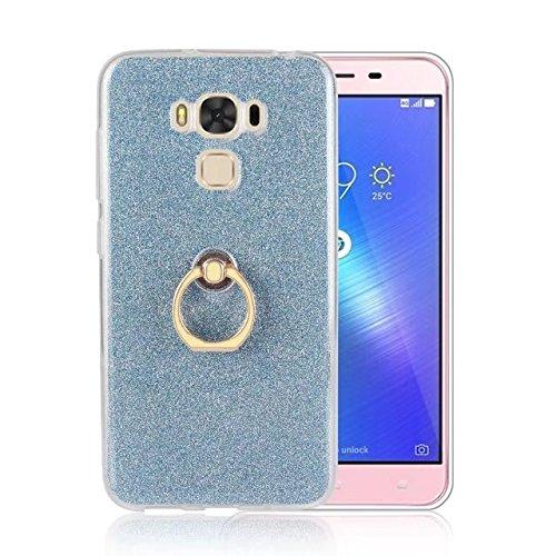 Luxus Bling Sparkle Style Case, Soft TPU [Silikon] Flexible Glitter Rückentasche [Anti Scratch] mit Fingerring Stand für Asus ZC553KL ZenFone 3 MAX ( Color : Blue ) Blue