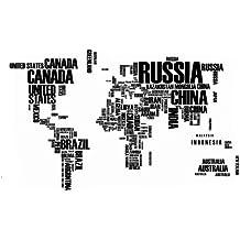 Jessie&Letty Mappa del muro mondo stickers nome inglese paese lettera