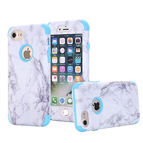 ne 7Fall, nokea [Marmor Muster] Drei Schicht Hybrid Heavy Duty stoßfest Schutz Bumper Cover Silikon Combo Hart PC Case Weich Für iPhone 8/iPhone 7, Blau ()