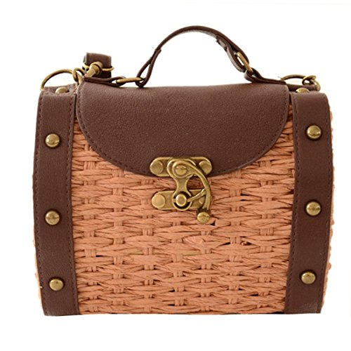 Women Retro Straw Woven Crossbody Shoulder Handbags Totes Baguette Bags