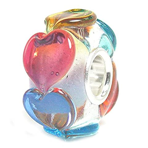 Infinity Love Goes Round Rainbow Life Heart Glass Bead Sterling Silver Core For European Charm Bracelets