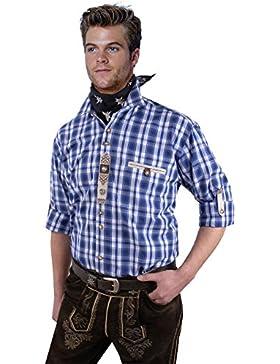 Moschen-Bayern Best-Quality Trachtenhemd Herren Karo Kariert Langarm Kurzarm Reine Baumwolle - Blau