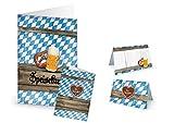 DIY bayerische Tisch-Deko-Set (für 25 - 30 Gäste) in blau-weiß-kariert: 32 Tischkarten + 12 Menü-Speise-Karten für Hochzeit, Geburtstag, Oktoberfest, Bayern Feste zum selber-machen-drucken