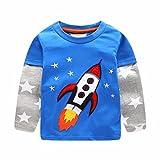 Toddler Baby Boy Rocket Star Print PatchworkTops Camicetta T-shirt Outfit vestiti,Yanhoo Super pigiamini Ragazzi Maglietta maniche lunghe 2-6Anni (18M, blu)