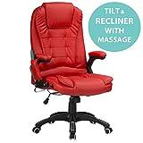 RayGar Chaise de bureau pivotant à 360° avec dossier inclinable et massant en 6...