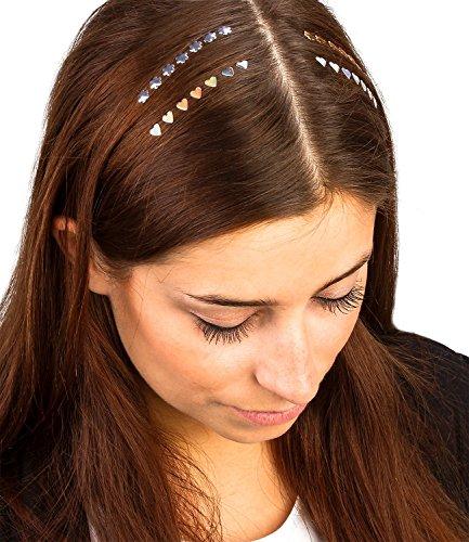 chmuck, 28er Set Haar Tattoos Sticker Haarschmuck mit Blumen und Herzen leicht auftragbar und entfernbar, Karneval, Kost (329-902) (Leichte Kost Kostüme)