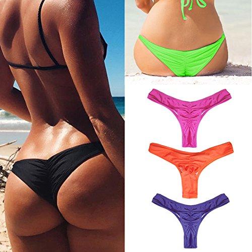 Damen Brazilian Slip Bikini Badehose Strand Mini Tanga Rüsche Design Badeanzüge G-String Unterwäsche Baden Tanga A#Grün