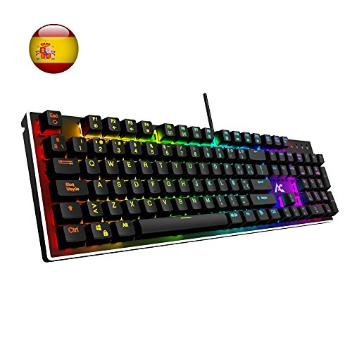 ACGAM AG-109R Chroma Teclado Mecánico Gaming Retroiluminado 105 Keys Switches Brown RGB Mechanical Keyboard con Disposición Española