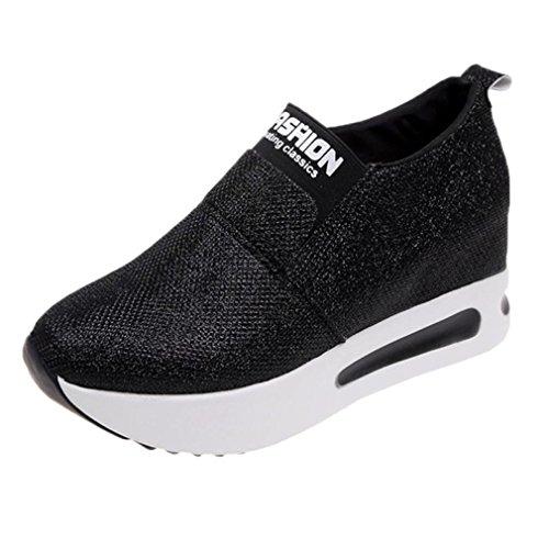 Zapatillas de Deporte para Mujer Otoño 2018 Zapatos de Plataforma de Dama PAOLIAN Casual Lentejuelas Lona Baratos Cómodo Calzado de Señora de Moda Breathable Zapatillas de Vestir