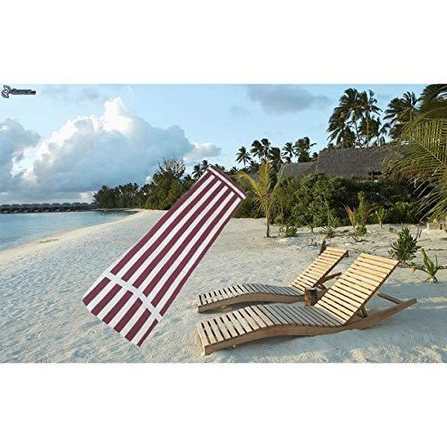 Cisne 2013, S.L. Cojín Colchón para Tumbona o Mueble para Jardín, Playa, Exteriores. Cojín Suave Asiento terraza etc. Medidas 180x50x3cm. Diseño Rayas rojiblancas.