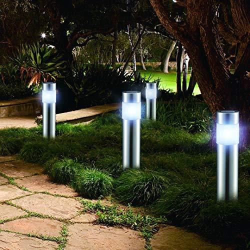 LED LOVERS 4er Set LED Solarleuchten Gartenlicht San Diego | Edelstahl | Rostfrei | Wasserdicht | Energiesparend | Höhe 27 cm, 12 cm mit Erdspieß | Für Außen, Garten, Terasse,