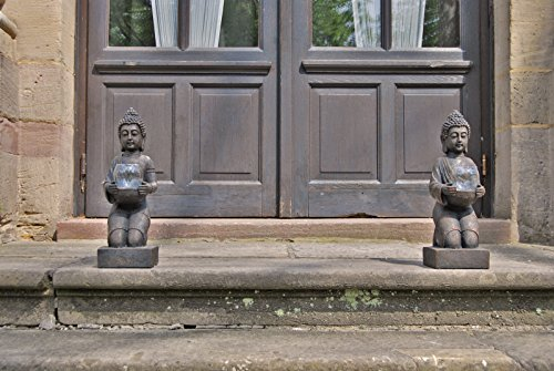 2er Set Windlicht-Figur Buddha XL – Teelichthalter Heim + Garten – Deko Statue