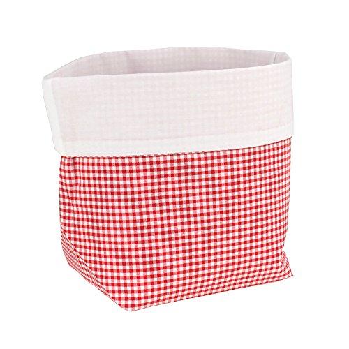 Sugarapple Utensilo Stoff Aufbewahrungsbox aus Baumwolle 19 x 13,5 x 13,5 cm, Stoffbox fürs Bad, als Wickeltisch Organizer oder Windelspender Korb, Karo rot