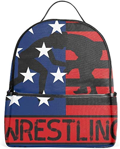 USA Flag Wrestling Race Bags for Men,Cute Casual Backpack Travel Bags Women Daypack Travel Bag