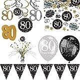 PartyVision Kit décoration Anniversaire Étincelant 80 Ans - Prestige guirlandes ballons