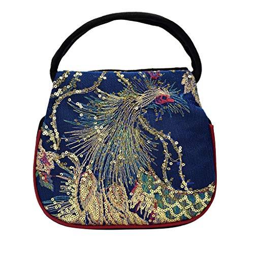 Mitlfuny handbemalte Ledertasche, Schultertasche, Geschenk, Handgefertigte Tasche,Frauen pailletten ethnischen wind leinwand stickerei tragbare diagonale paket