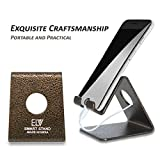 #9: ELV Desktop Cell Phone Stand Tablet Stand, Advanced 4mm Thickness Aluminum Stand Holder for Mobile Phone (All Size) and Tablet (Up to 10.1 inch) - GOLDEN GRAIN (MADE IN INDIA)