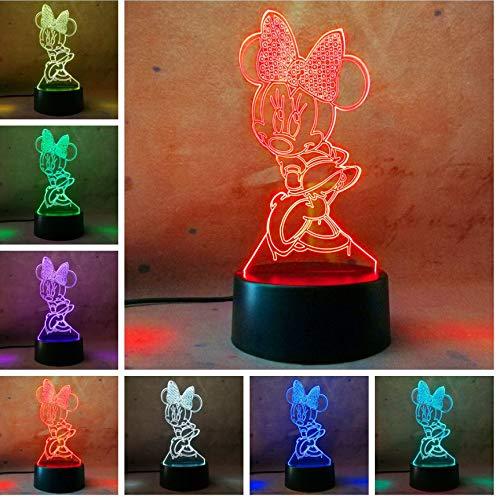 Nette 3D Nachtlicht Mickey Minnie Mouse 7 Farben Led Mädchen Geschenk Geburtstagsgeschenk Schlafzimmer Licht Weihnachtsgeschenk Dekor Lampe Tisch, c