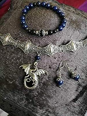 Parure Médiéval Dragon de protection, obsidienne noir, œil céleste et dorée +Lapis Lazuli