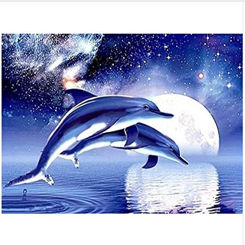 Yiciyici Halloween 5D DIY Diamant Malerei Delphin Voller Diamant Stickerei Gemälde Strass Klebte Dekorationen Für Zu Hause 40X50Cm