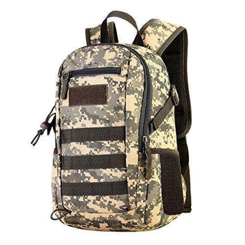 MagiDeal 12L Mini Daypack MOLLE Zaino Borsa Da Campeggio Caccia Militare Viaggio Per Donna Uomo - Nero ACU Digital