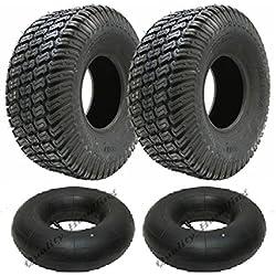 Set von 2 - 16x6.50-8 4fach Rasen Rasenmäher Reifen und Tuben 16 650 8 Reifenfahrt auf Rasenmäher