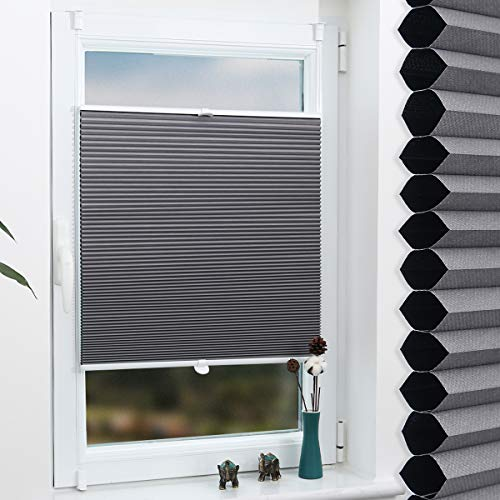Grandekor Wabenplissee Klemmfix Verdunkelung Thermo Zweifarbig 75x130cm (BxH) Weiß-Grau/Doppelplissee ohne Bohren für Fenster & Tür, Sonnen-, Sicht- & Schallschutz Wärmeisolierung, Kein Geruch