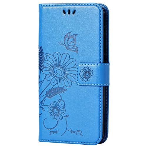 kazineer Galaxy J5 2017 Hülle, Samsung J5 2017 Handyhülle Leder Tasche Schutzhülle Blume Muster Etui für Samsung Galaxy J5 2017 Case (Türkis-blau)