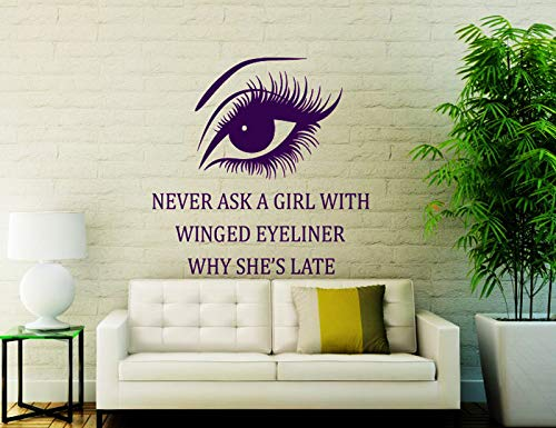 Beauty Salon Wall Stickers Long Lashes Living Room Window Quotes Remove Vinyl Decal Home Art Decoration Poster57x58cm