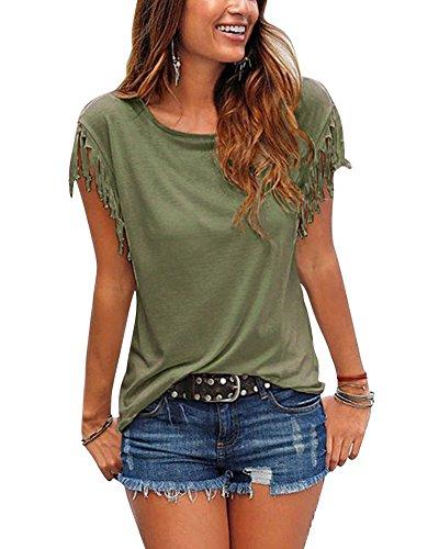 Femmes T-Shirt Eté Casual Tassel Manches Courtes Tunique Chemise Blouse Vert armée