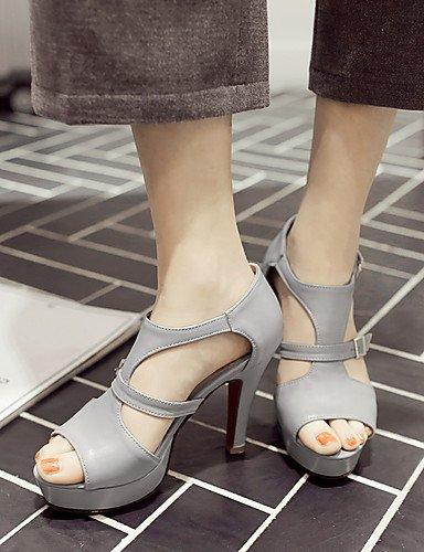 LFNLYX Chaussures Femme-Mariage / Habillé / Soirée & Evénement-Jaune / Blanc / Gris-Gros Talon-Bout Ouvert / A Plateau-Sandales-Similicuir gray