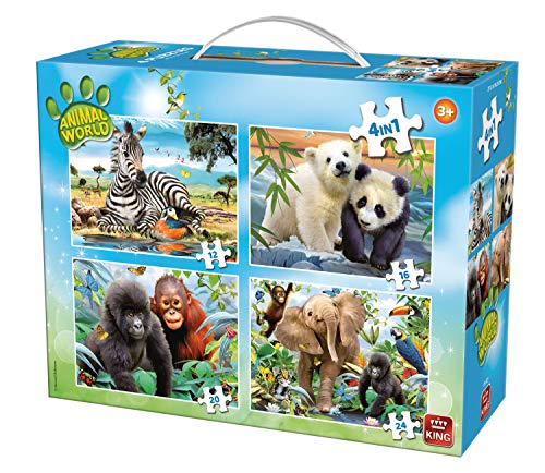 King Animal World 4in1 Puzzle 12pieza(s) - Rompecabezas (Jigsaw Puzzle, Fauna, Niños, Animal World, Niño/niña, 4 año(s))