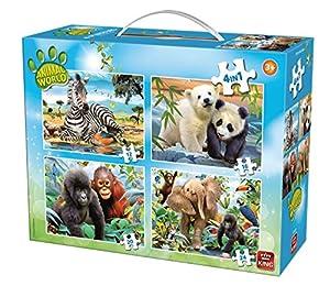 King Animal World 4in1 Puzzle Puzzle - Rompecabezas (Puzzle Rompecabezas, Fauna, Niños, Animal World, Niño/niña, 4 año(s))