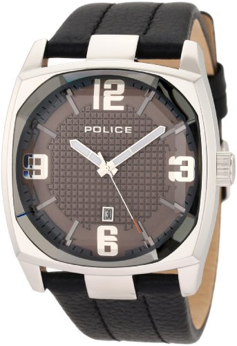 Police Unisex Quartz Watch with Black Dial Analogue Display and Black Leather Strap DL32.71PL