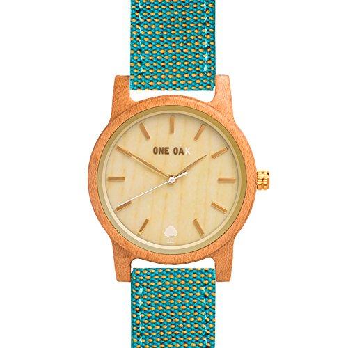 ONE OAK - Kvell Ocean | Reloj de Madera Unisex Ambientalmente Sostenible | Esfera de Madera de Arce y Correa de Tela de Color Azul y Amarillo