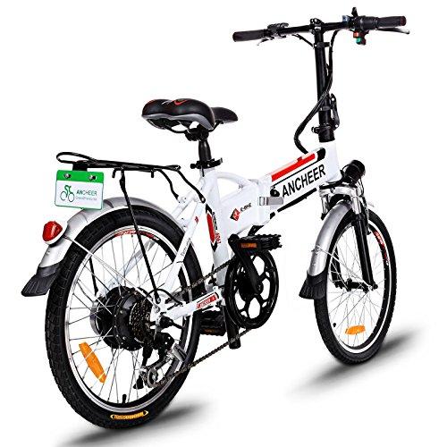 Ancheer Elektrofahrrad 20 Zoll Faltbares E-Bike Mountainbike 36V 250W Klapprad Große Kapazität Pedelec mit Lithium-Akku und Ladegerät Weiß
