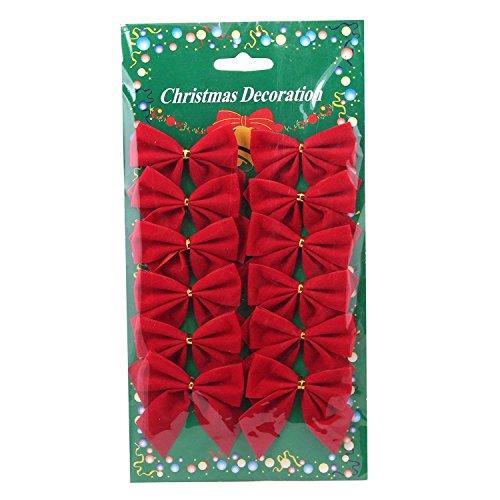 Sadkl Weihnachtsschmuck rot 12 Mini 60mm 6cm Rand Velvet Xmas Ribbon Bögen Ornamente (Bögen Ribbon)