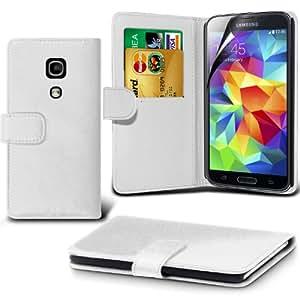 (Weiß) Samsung Galaxy S5 Schutzmaßnahmen Kunst Credit / Debit-Karten-Leder-Buch-Art Wallet Case Hülle & LCD-Display Schutzfolie von Hülle Spyrox