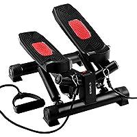 ENKEEO Mini Stepper Máquina de Step con 2 Bandas Resistencia y Pantalla Digital, Escaladora para Fitness y Entrenamiento, Negro y Rojo