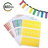Kabel Label, FOGAWA 480 Pcs Kabel Etiketten reißfeste Kabeletiketten Selbstklebendes wasserdichtes Label mit 8 verschiedenen Farben für Kabelkennzeichnung Laserdrucker Edding Fineliner