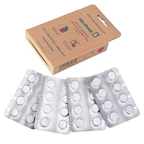 aquabook® - Reinigungstabletten für Flaschen 32 Stück, Bottle Cleaning Tabs, Flaschenreiniger, Thermoskannenreiniger, Reinigungstabs, Trinkblase Reinigung