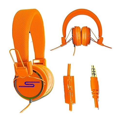 Casque audio stéréo orange Extra-Bass Clear Sound avec fonction micro