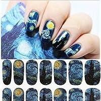 Arpoador 1 Sheet Nail Wraps Mysterious Starry Sky Night Patterned Full Nail Sticker
